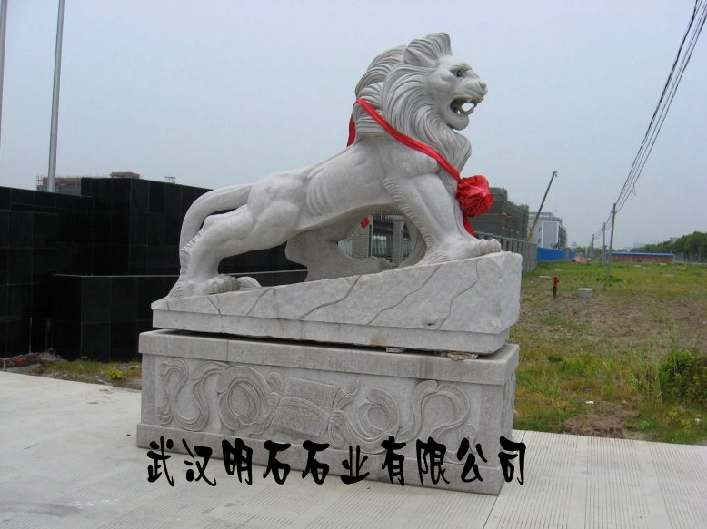 武汉石狮子摆放/武汉汉白玉石狮子/石雕狮子厂家